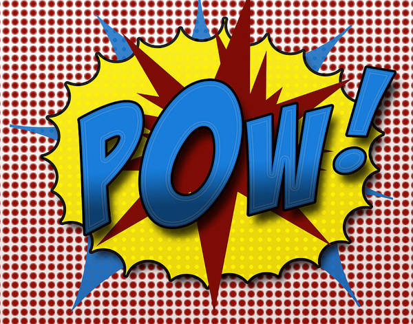 Comic Poster featuring the digital art Pop Pow by Suzanne Barber