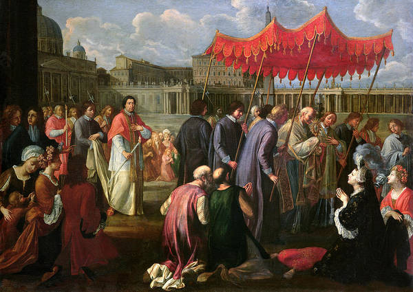 Pope Poster featuring the painting Pope Clement Xi In A Procession In St. Peter's Square In Rome by Pier Leone Ghezzi