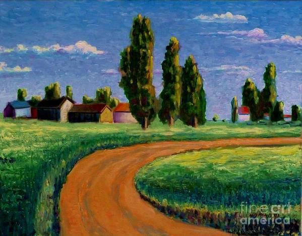 Landscape Poster featuring the painting Poplars by Ushangi Kumelashvili