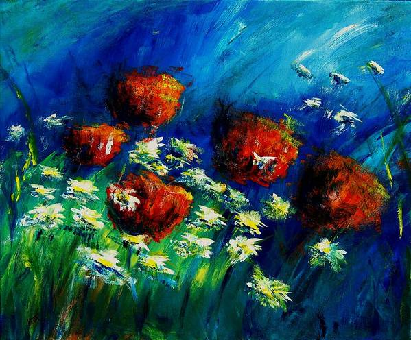 Flowers Poster featuring the painting Poppies And Daisies by Veronique Radelet