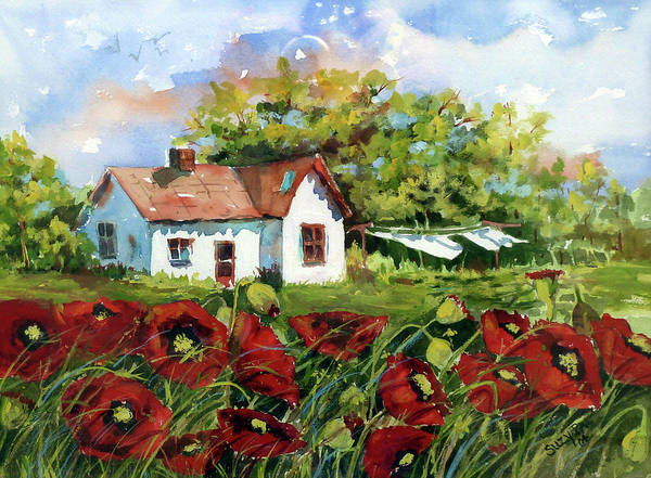 Watercolor Poster featuring the painting Poppies And Laundry by Suzy Pal Powell