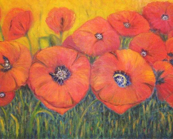 Poppies Poster featuring the painting Poppies For My Sister by Patricia Ortman