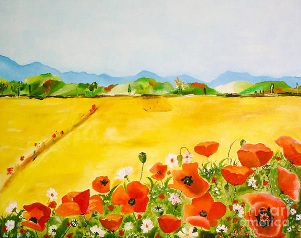 Poppies Poster featuring the painting Poppies In Alentejo by Nela Vicente