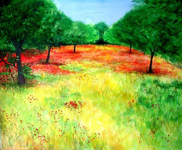 Landscape Poster featuring the painting Poppies In The Almond Grove by Lizzy Forrester