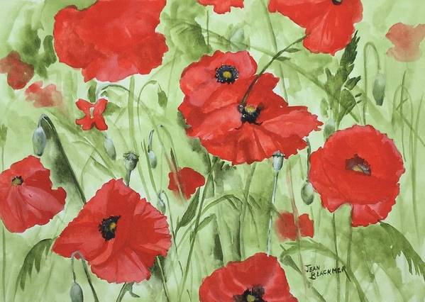 Red Poster featuring the painting Poppy Field 1 by Jean Blackmer