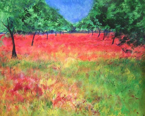 Original Landscape Painting. Poppy Field Poster featuring the painting Poppy Field II by Lizzy Forrester