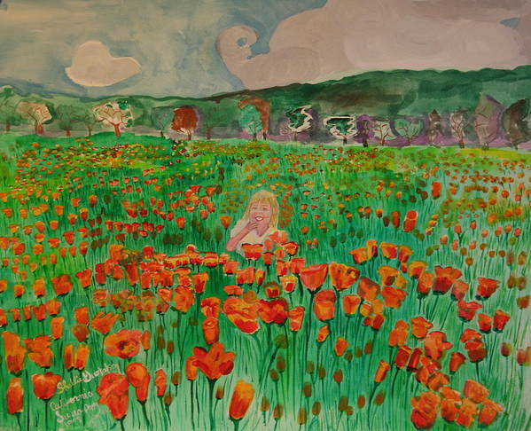Poppy Fields Girl Flowers Poster featuring the painting Poppy Field by Shellie Gustafson