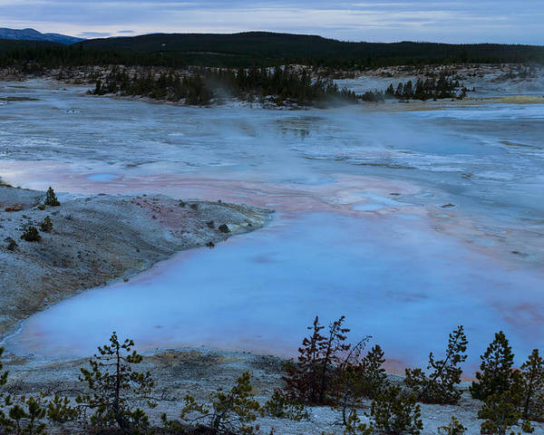 Yellowstone Poster featuring the photograph Porcelain Dusk by Dvir Barkay