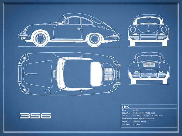 Porsche 356 c blueprint poster by mark rogan porsche poster featuring the photograph porsche 356 c blueprint by mark rogan malvernweather Gallery
