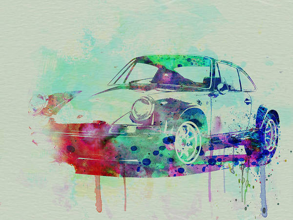 Porsche 911 Poster featuring the painting Porsche 911 Watercolor 2 by Naxart Studio