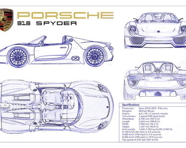Porsche 918 Spyder Blueprint Poster
