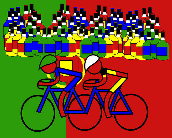 Tour De France Poster featuring the digital art Port from Porto in Portugal and the Stage 8 Winner by Asbjorn Lonvig