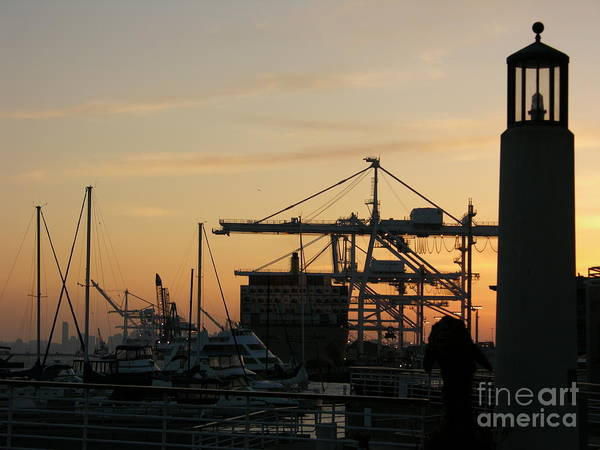 Oakland Poster featuring the photograph Port Of Oakland Sunset by Carol Groenen