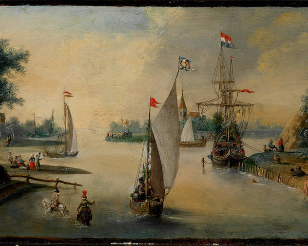 Hendrick Avercamp Poster featuring the painting Port Scene With Sailing Ships by Hendrick Avercamp