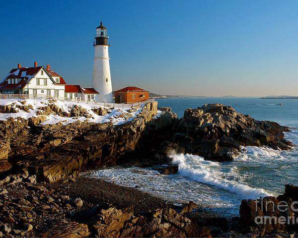 Coastline Poster featuring the photograph Portland Head Light - Lighthouse  Seascape Landscape Rocky Coast Maine by - Portland Head Light - Lighthouse Seascape Landscape Rocky Coast