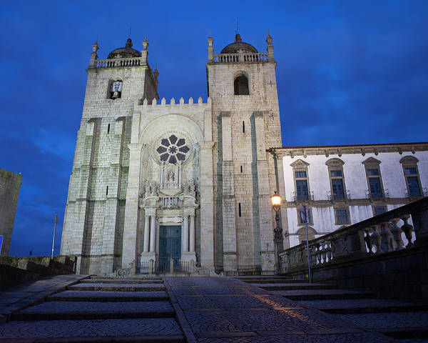 Porto Poster featuring the photograph Porto Cathedral By Night In Portugal by Artur Bogacki