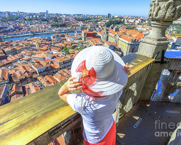 Oporto Poster featuring the photograph Porto Skyline Woman by Benny Marty