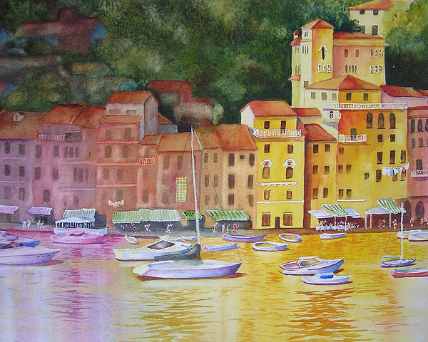 Italy Poster featuring the painting Portofino Afternoon by Karen Stark