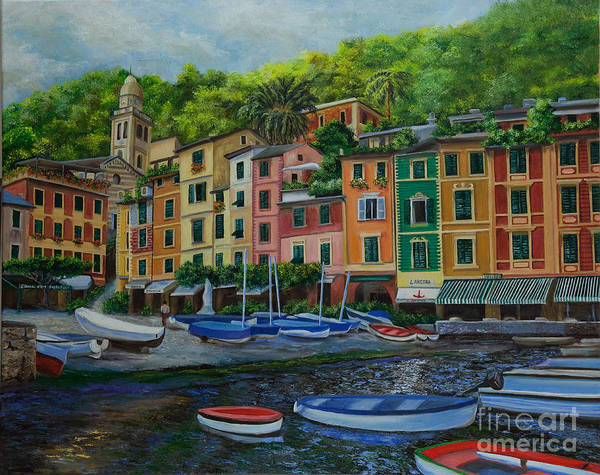 Portofino Italy Art Poster featuring the painting Portofino Harbor by Charlotte Blanchard