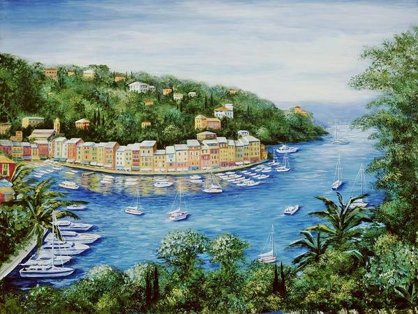 European Poster featuring the painting Portofino Majestic Panoramic View by Marilyn Dunlap