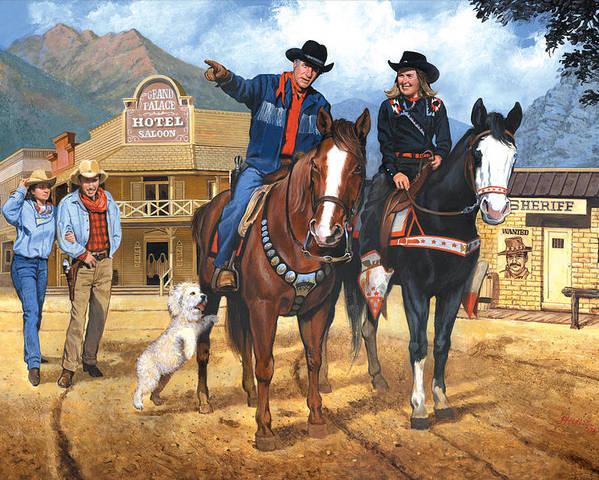 Western Poster featuring the painting Portrait Of Harry And Pat Bernstein by Harold Shull
