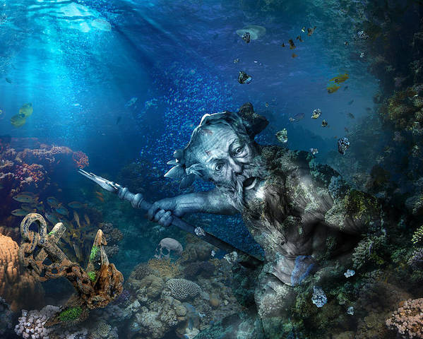 Poseidon Poster featuring the photograph Poseidon by Marc Huebner