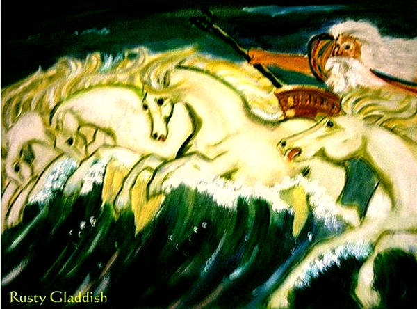 Mythical Poster featuring the painting Poseidon by Rusty Gladdish