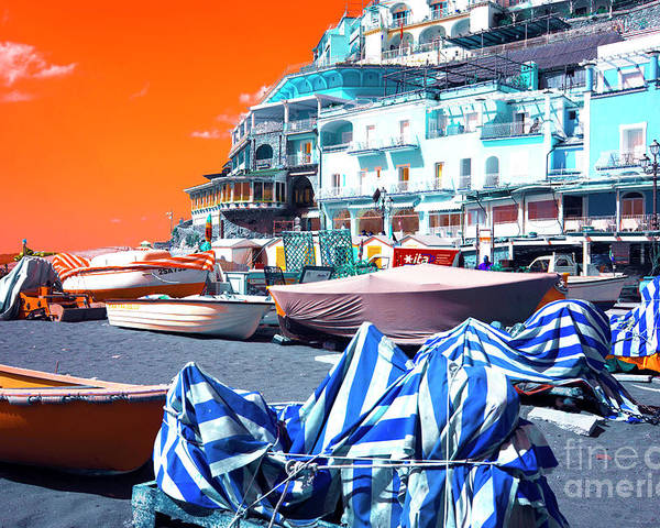 Positano Beach Pop Art Poster featuring the photograph Positano Beach Pop Art by John Rizzuto