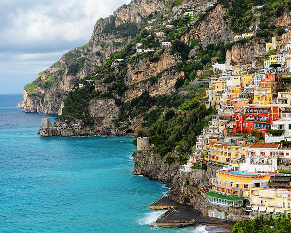 Positano Poster featuring the photograph Positano Coastline Campania Italy by George Oze