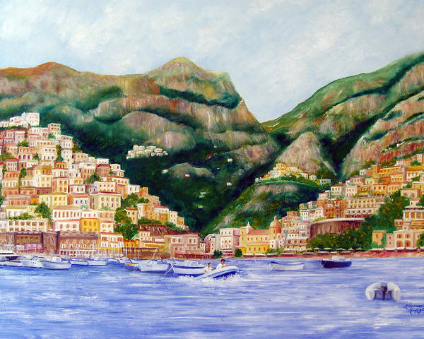 Italy Poster featuring the painting Positano by Leonardo Ruggieri
