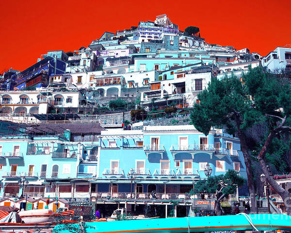 Amalfi Coast Pop Art Poster featuring the photograph Positano Pop Art by John Rizzuto