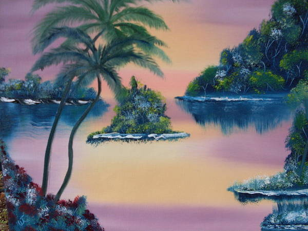 Landscape Oil Trees Seaside Sunset Poster featuring the painting Postcard From The Keys by Warren Thompson