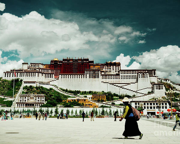 Tibet Poster featuring the photograph Potala Palace. Lhasa, Tibet. Yantra.lv by Raimond Klavins