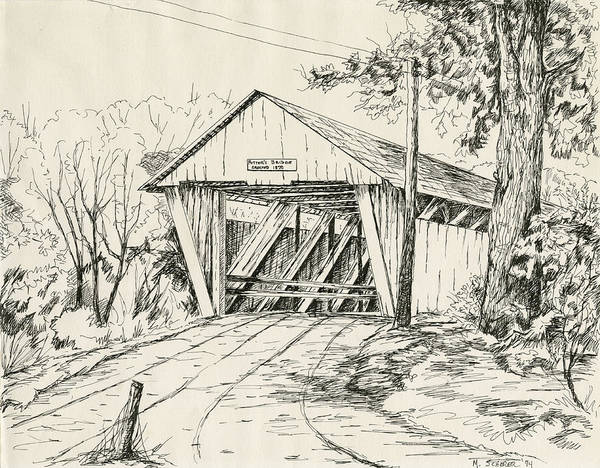 Pen And Ink Drawing Of Potter's Bridge In Noblesville Poster featuring the drawing Potter's Covered Bridge by Michael Scherer