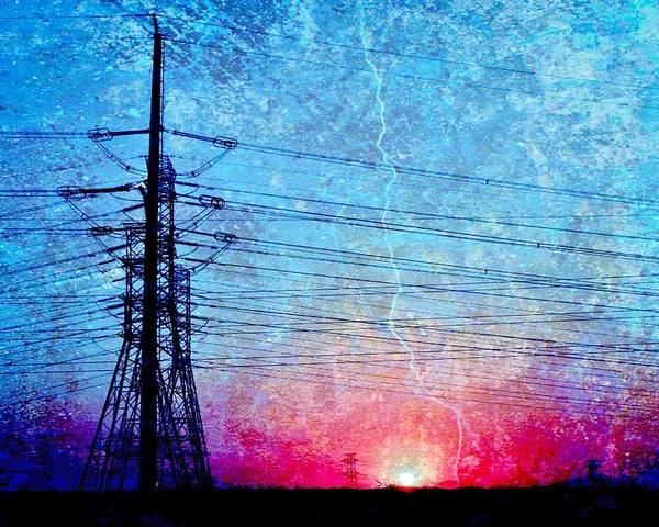 Landscape; Power Lines; Sunrise; Texture; Blue; Red; Swartland; South Africa; Morning Light; Nature; Technic; Wire; Sky; Poster featuring the photograph Power In Blue by Werner Lehmann