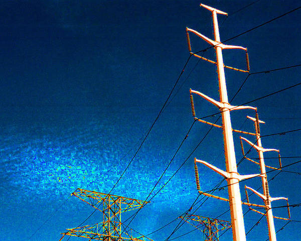 Sky Poster featuring the photograph Power Line Light Clouds 2 by Lyle Crump