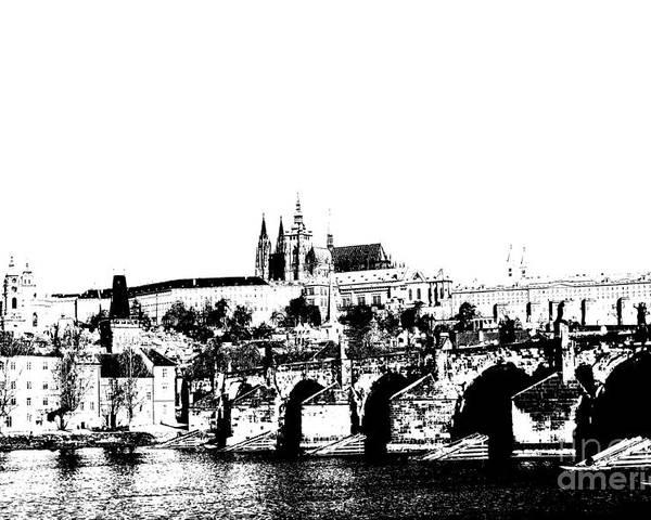 Prague Castle Poster featuring the digital art Prague Castle And Charles Bridge by Michal Boubin