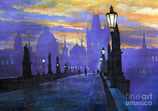 Acrilic On Canvas Poster featuring the painting Prague Charles Bridge Sunrise by Yuriy Shevchuk