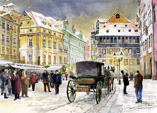 Watercolour Poster featuring the painting Prague Old Town Square Winter by Yuriy Shevchuk