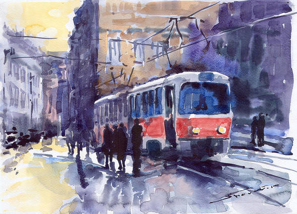Cityscape Poster featuring the painting Prague Tram 02 by Yuriy Shevchuk