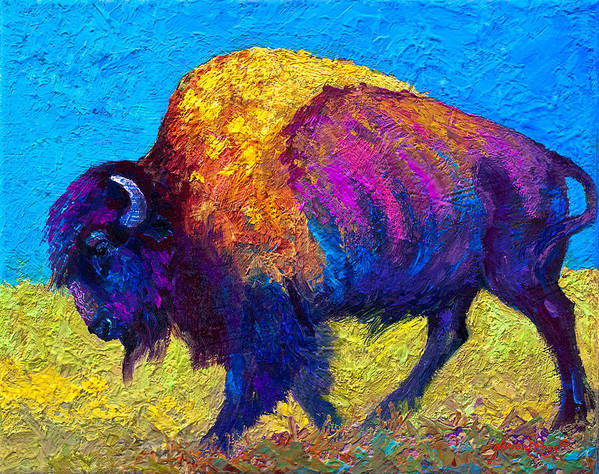 Bison Poster featuring the painting Prairie Dusk by Marion Rose