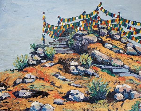 Buddhist Poster featuring the painting Prayer Flags In The Mist by Art Nomad Sandra Hansen