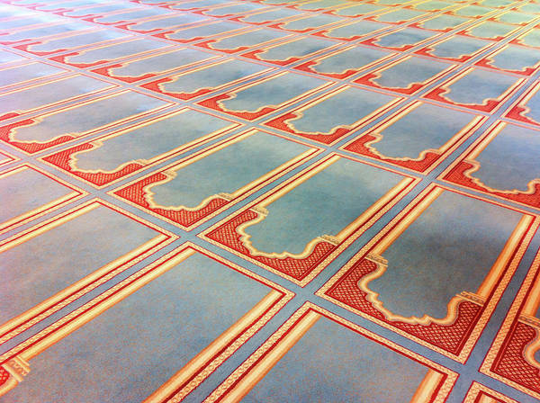 Horizontal Poster featuring the photograph Prayer Mats Printed On Mosque Carpet by Jill Tindall