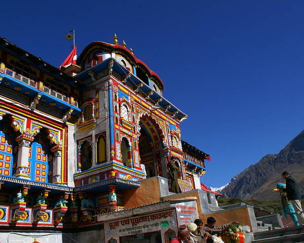 Landscape Poster featuring the photograph Prayers At Badrinath Temple by Padamvir Singh