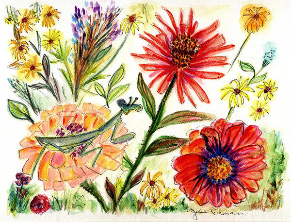 Flowers Nature Botany Drawing Julie Richman Flora Pencil Poster featuring the painting Praying Mantis Flowers54 by Julie Richman