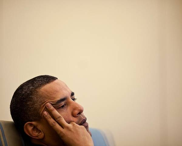 History Poster featuring the photograph President Barack Obama Listening by Everett