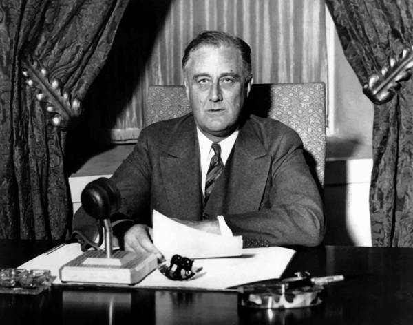 Franklin Roosevelt Poster featuring the photograph President Franklin Roosevelt by War Is Hell Store