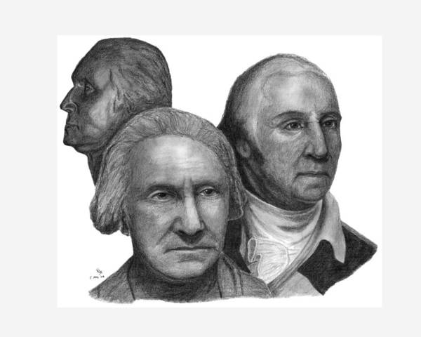 Washington Poster featuring the drawing President George Washington by Charles Vogan
