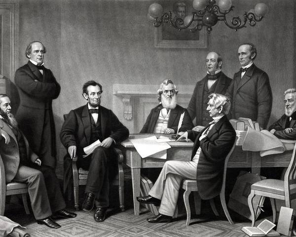 Abraham Lincoln Poster featuring the drawing President Lincoln And His Cabinet by War Is Hell Store