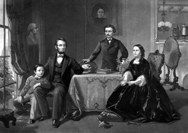 Abraham Lincoln Poster featuring the drawing President Lincoln And His Family by War Is Hell Store